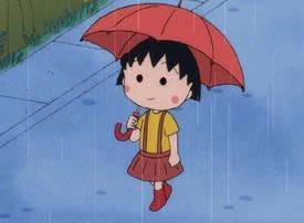 一组樱桃小丸子雨中打伞的图片欣赏