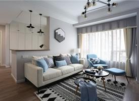 80m²高等灰+清爽蓝的现代风温馨小窝 