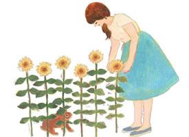 一组小女孩与兔子的卡通唯美壁纸