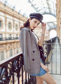 黄一琳刺绣短裙大秀美腿性感街拍写真图片