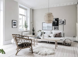 北欧风格的客堂后果:单人沙发或躺椅