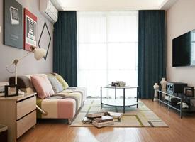 77平简约混搭二居室,几何图案搭配出纯净基调