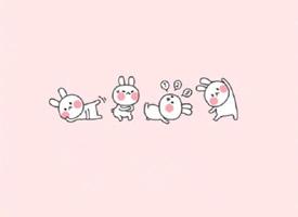 萌萌哒粉色背景可爱卡通壁纸欣赏