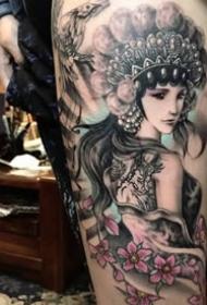 花旦刺青:一组中国风花旦纹身图案9张