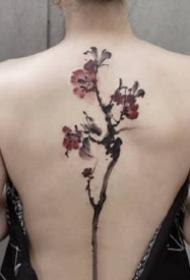 水墨风格的一组花花草草的植物纹身图案