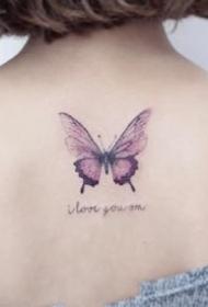 女孩子很爱好的一组胡蝶纹身图案9张