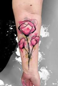 纹在小臂上很好看的一组水彩风格的纹身图案