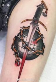 oldschool风格的一组小刀匕首纹身作品