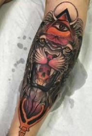 school风格的一组彩色老虎纹身图案