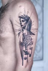手臂上创意感十足的黑灰纹身作品9张
