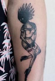 纹在胳膊上的一组暗黑手臂个性纹身图