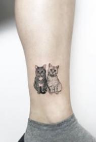 小清新猫纹身:狠可爱的一组小清新猫纹身图案