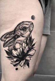 个性的一组关于兔子的纹身作品欣赏
