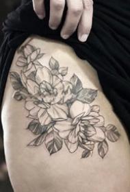 一組掃針花卉植物紋身素花圖片