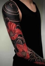 适合男性的霸气黑色花臂等传统纹身图案