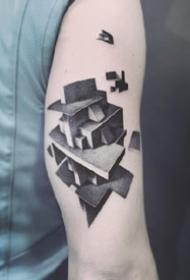 由幾何體立體構成的3d視覺紋身圖案欣賞
