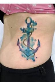 蓝色彩的一组水墨黑色纹身图案9张