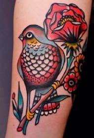 红色调很漂亮的oldschool风格的纹身图案