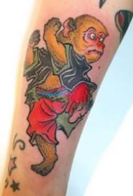 日式传统的的一组小彩色文化纹身图片