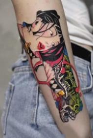 日式好看标一组暗黑女郎纹身图片