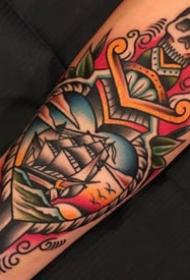红色调的一组手臂old school风格的纹身图片