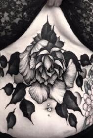 深黑色的一组点刺花草纹身图片
