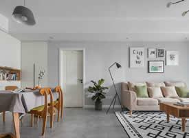 北欧式浅灰色瓷砖地面&墙面,简约的柜门款式