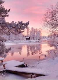 北欧冬日的暮色拍摄图,美如仙境