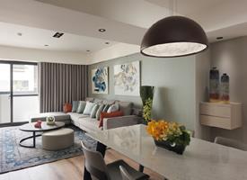 原木色地板&彩色墙面现代简约风格装修效果图