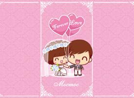 摩丝摩丝和仔仔结婚主题插画