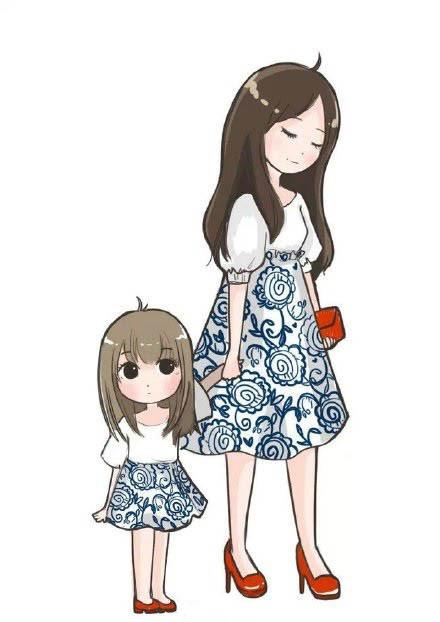 点击大图看下一张:一组小女孩和妈妈的亲子装插画设计