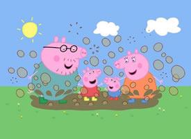 一组小猪佩奇草地上玩耍的图片欣赏