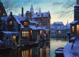 一组雪夜童话小镇的美景图片欣赏