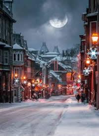 一組圣誕雪景的晚上拍攝圖片欣賞