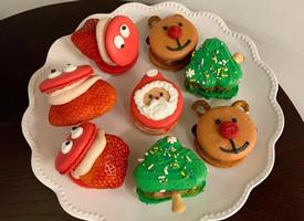 一组超可爱的圣诞节主题马卡龙
