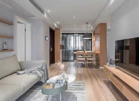 三居室搭配原木色家具的北欧风格装修效果图