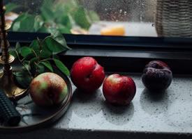 刚熟的油桃白中透粉,桃肉也比较松软