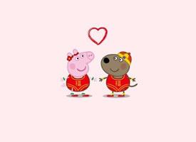 超可爱的小猪佩奇情侣壁纸