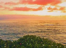 夕陽照在海面上,海水就浮光躍金,似乎一顆顆神奇的小星星在閃閃發光