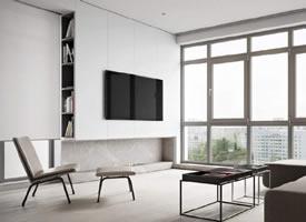 一组现代通亮极简一居室装修后果图