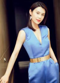 韩丹彤蓝色礼服性感图片