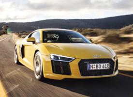 奥迪R8 V10经典款黄色汽车高清图片