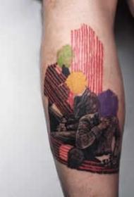 一组暗彩色的插画纹身作品图片