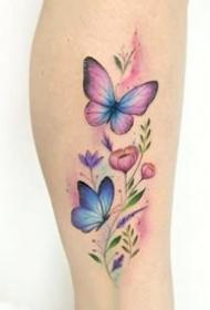 小清爽的一组黑色胡蝶纹身图案