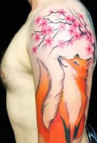 一組創意狐貍的水彩等紋身圖案