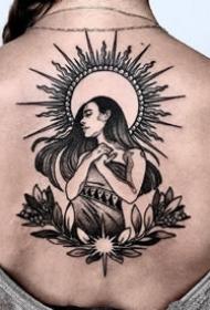 一组暗黑色的日月纹身设计图案欣赏