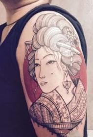 个性的一组日式传统艺伎纹身图