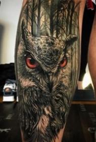9张黑暗系3d写实猫头鹰纹身图案作品