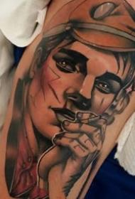 欧式新传统风格的一组人物肖像画纹身作品