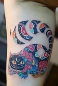 小腿小臂的日式传统炫彩色纹身图片9张